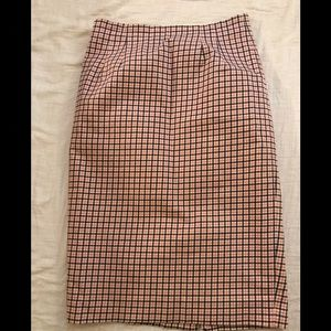 Boden pencil skirt pink and white checkered